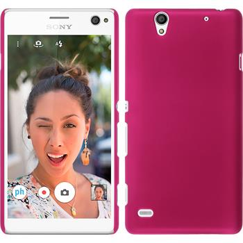 Hardcase for Sony Xperia C4 / Dual rubberized hot pink