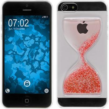Hardcase iPhone 5 / 5s / SE Sanduhr rot-weiß + 2 Schutzfolien