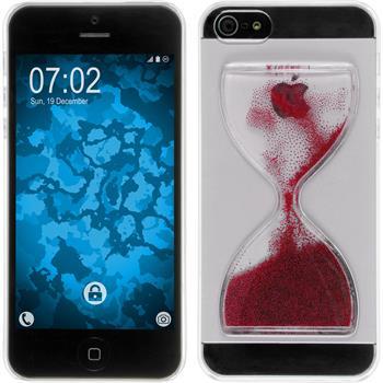 Hardcase iPhone 5 / 5s / SE Sanduhr rot + 2 Schutzfolien