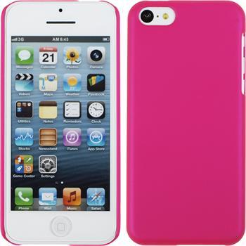 Hardcase iPhone 5c gummiert pink + 2 Schutzfolien