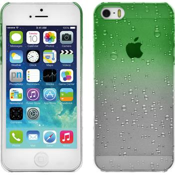 Hardcase iPhone SE Waterdrops grün + 2 Schutzfolien