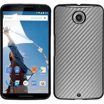 Hardcase Nexus 6 Carbonoptik silber + 2 Schutzfolien