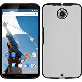 Hardcase für Google Nexus 6 Carbonoptik weiß
