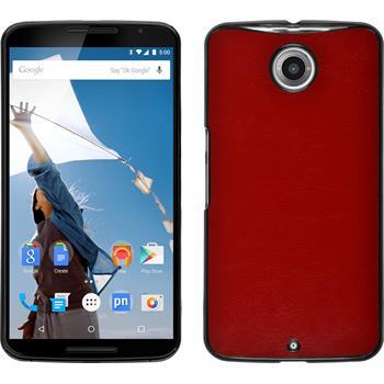 Hardcase Nexus 6 Lederoptik rot + 2 Schutzfolien