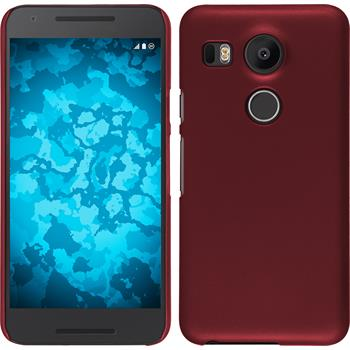 Hardcase Nexus 5X gummiert rot + 2 Schutzfolien