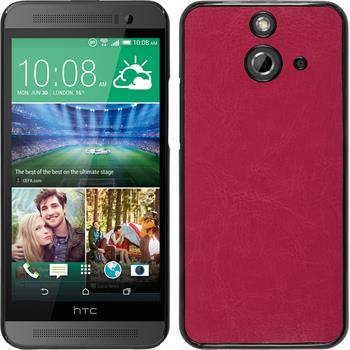 Hardcase für HTC One E8 Lederoptik pink