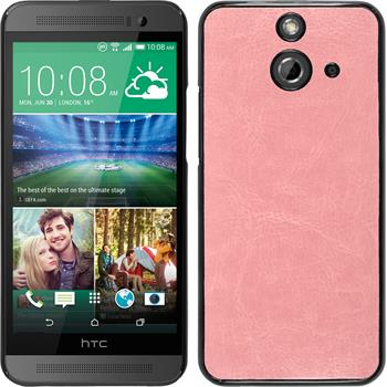 Hardcase for HTC One E8 leather optics pink