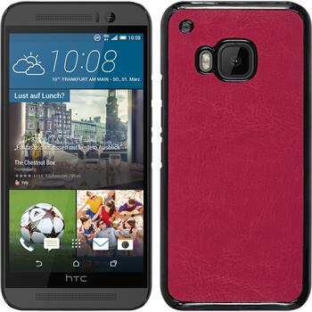 Hardcase for HTC One M9 leather optics hot pink