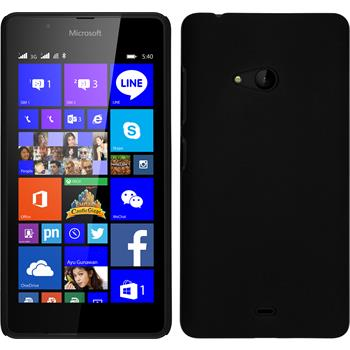 Hardcase Lumia 540 Dual gummiert schwarz + 2 Schutzfolien
