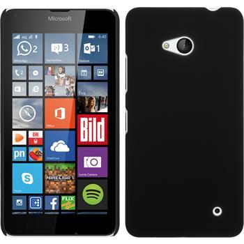 Hardcase Lumia 640 gummiert schwarz + 2 Schutzfolien