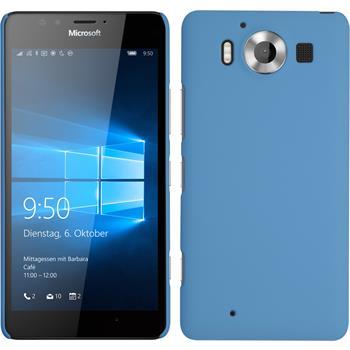 Hardcase Lumia 950 gummiert hellblau + 2 Schutzfolien
