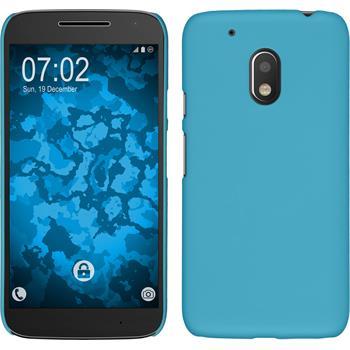Hardcase Moto G4 Play gummiert hellblau + 2 Schutzfolien