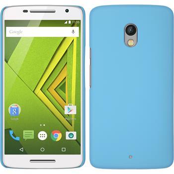 Hardcase für Motorola Moto X Play gummiert hellblau