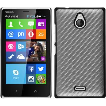 Hardcase für Nokia X2 Carbonoptik silber