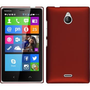 Hardcase Nokia X2 gummiert rot + 2 Schutzfolien