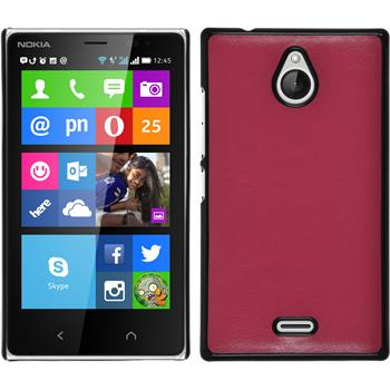 Hardcase für Nokia X2 Lederoptik pink