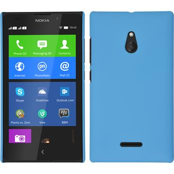 Hardcase Nokia XL gummiert hellblau + 2 Schutzfolien