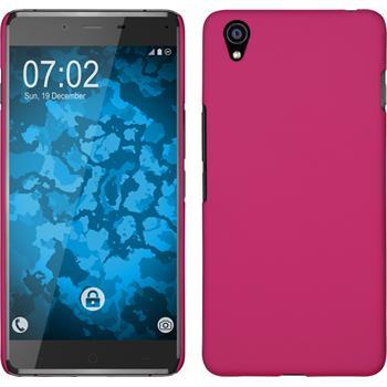 Hardcase OnePlus X gummiert pink + 2 Schutzfolien