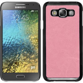 Hardcase Galaxy E5 Lederoptik rosa + 2 Schutzfolien