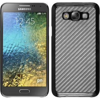 Hardcase Galaxy E7 Carbonoptik silber