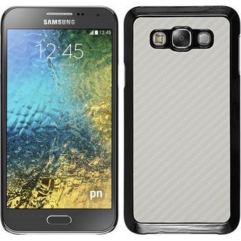 Hardcase Galaxy E7 Carbonoptik weiß + 2 Schutzfolien