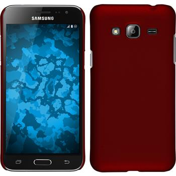 Hardcase Galaxy J3 gummiert rot + 2 Schutzfolien