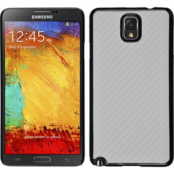 Hardcase Galaxy Note 3 Carbonoptik weiß + 2 Schutzfolien