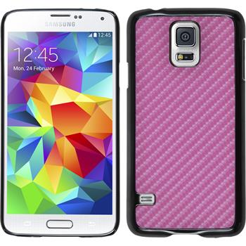 Hardcase for Samsung Galaxy S5 carbon optics hot pink