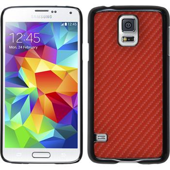 Hardcase for Samsung Galaxy S5 carbon optics red