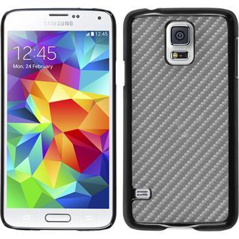Hardcase Galaxy S5 Carbonoptik silber + 2 Schutzfolien