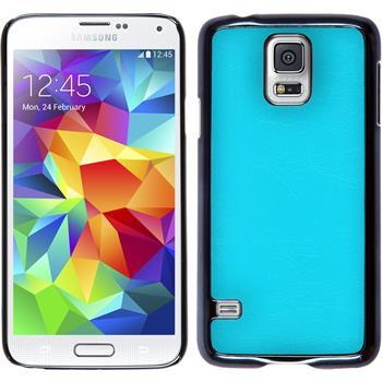 Hardcase Galaxy S5 Lederoptik blau + 2 Schutzfolien