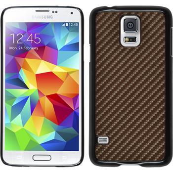 Hardcase Galaxy S5 Neo Carbonoptik bronze + 2 Schutzfolien