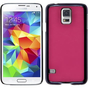 Hardcase Galaxy S5 Neo Lederoptik pink + 2 Schutzfolien