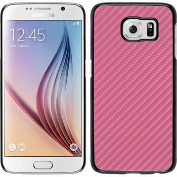 Hardcase Galaxy S6 Carbonoptik pink + 2 Schutzfolien