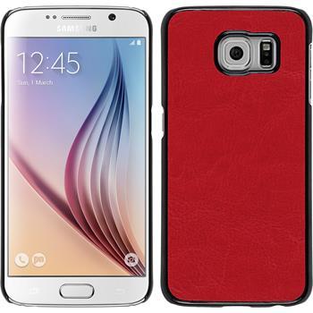 Hardcase Galaxy S6 Lederoptik rot + 2 Schutzfolien