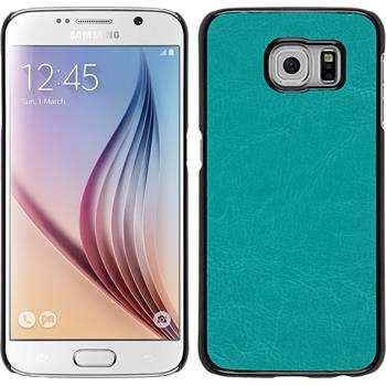 Hardcase Galaxy S6 Lederoptik türkis + 2 Schutzfolien