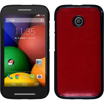 Hardcase for Motorola Moto E leather optics red
