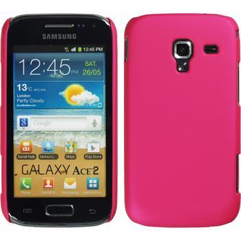 Hardcase Galaxy Ace 2 gummiert pink + 2 Schutzfolien