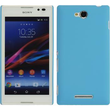 Hardcase for Sony Xperia C rubberized light blue