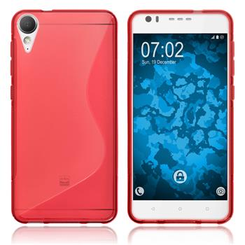 Silicone Case Desire 10 Lifestyle S-Style red + protective foils