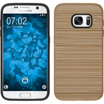 Hybrid Case for Samsung Galaxy S7 brushed Case gold