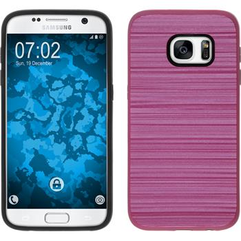 Hybrid Case for Samsung Galaxy S7 brushed Case hot pink