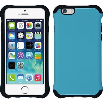 Hybrid Hülle iPhone 6s / 6 ShockProof Candy blau + 2 Schutzfolien