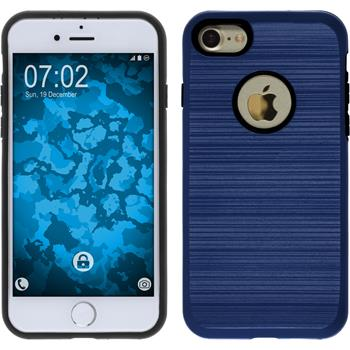 Hybrid Hülle iPhone 7 brushed Case dunkelblau