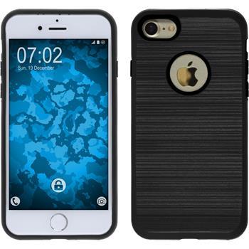 Hybridhülle für Apple iPhone 7 brushed Case schwarz