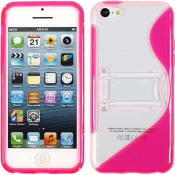 Silicone Case for Apple iPhone 5c stand function hot pink