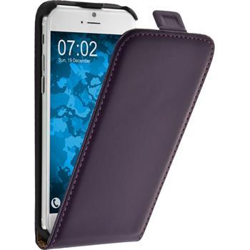 Kunst-Lederhülle iPhone 6s / 6 Flip-Case lila + 2 Schutzfolien