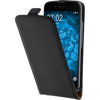 Kunst-Lederhülle iPhone 6s / 6 Flip-Case schwarz + 2 Schutzfolien