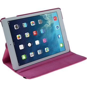 Kunst-Lederhülle für Apple iPad Air 360° pink + 2 Schutzfolien