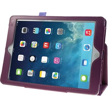 Kunst-Lederhülle für Apple iPad Air Wallet lila + 2 Schutzfolien